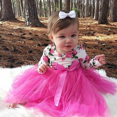 0-18M Lovely Newborn Baby Dress Long Sleeve Floral Romper Patchwork Tutu Princess Girls Dresses One Pieces Outfits Kids Clothes  UpCube- upcube