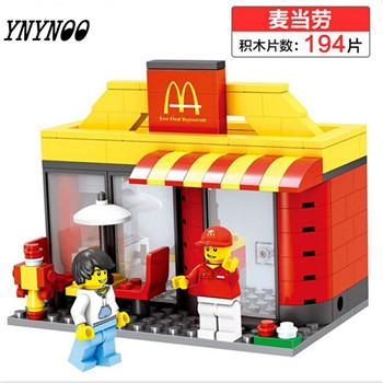 - (YNYNOO)Single Sale Mini Street Scene Retail Store Shop Architecture With Building Blocks Sets Model Toys FW138 - Wood  jetcube