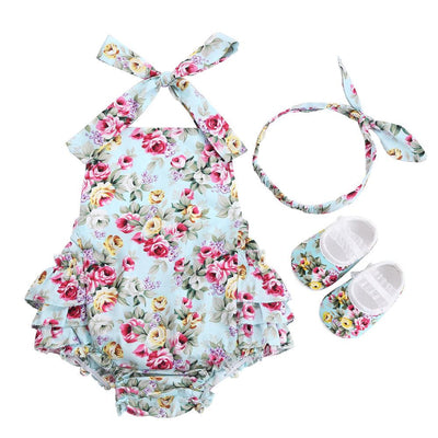 - 0-1 Year First Birthday Baby Show Floral Baby Clothes Girls Cute Headband Bebe Shoes 3 PCS set;Props Cotton Baby Rompers Overall - 7E3041 / 12M  jetcube