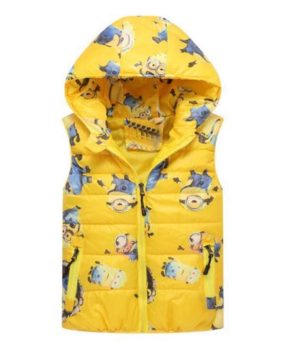 - 2-8 yrs 2017 New Baby boys girls autumn winter vest coat Kids warm outerwear children Jacket fashion cartoon waistcoat hooded -   jetcube