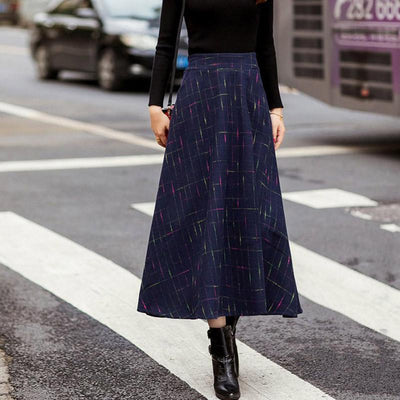 2017 Autumn Elastic High Waist Skirt Plaid Long Woolen Skirts Women Winter Windproof Warm Vintage A Line Faldas Jupe Longue