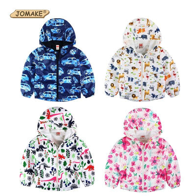 - 2-8yrs Kids Jackets For Girls and Boys Clothes Floral/Car/Dinosaur Print Children Outerwear & Coats Baby Hooded Windbreaker Coat -   jetcube