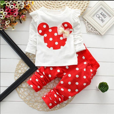 - 2016 Fashion Micky Mouse Baby Set Dot Cotton Baby Girl Clothes Kids Clothing Set Girl (Pants+T-shirt) Summer Mutli-Colors - Red / 12M  jetcube