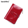 - 100% Women Genuine Leather Wallet Short Small Oil Wax Cowhide Purse Women's Vintage Lady Leather Clutch Coin Purses Card Holder -   jetcube