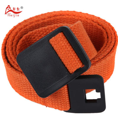 - 2.5cm webbing Waist Belt Candy Color Mens Womens Unisex Plain Webbing Canvas plastic Buckle Belt Personal Tailor - Orange / 100cm  jetcube