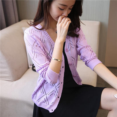 - 18 new women's Korean long sleeved knit cardigan collar hollow V simple air conditioning shirt female coat F1844 - long   purple / One Size  jetcube