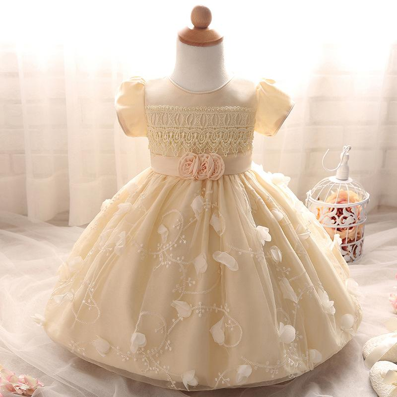 469d567f9a5 Newborn Baby Full Moon Dresses Petal Flowers Lace Princess Party Dresses  Toddler Girl Christening Gown Clothing