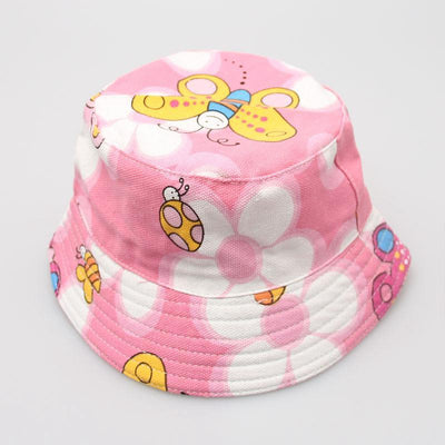 - 2-6T Baby Cartoon Print Bucket Sun Hat Floral Children Summer Panama Caps Baby Girls Fisherman Straw Hat Kids Boys Topee cap - 12  jetcube