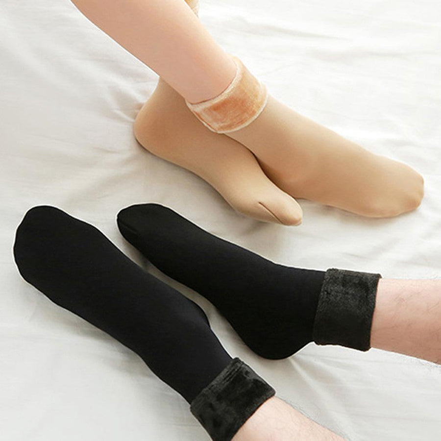 1 Pair Women Winter Warm Thicken Thermal Soft Casual Solid Color Socks Wool Cashmere Home Snow Boots Velvet Floor Socks
