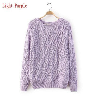 - 12 Color ! Hot New Autumn Winter Women Fashion Cotton Elastic Sweater Lady Knitted Long Sleeve O-neck Woolen Pullovers - 012Light purple / L  jetcube