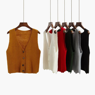2017 autumn cardigan short design sweater vest outerwear loose sleeveless sweater vest thin female spring and autumn
