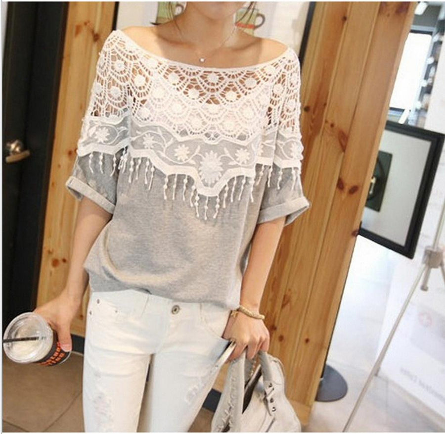 - 1pc Sweet Lace Cutout Collar Women Tops Batwing Sleeve Crochet Cape Collar Hollow Out Handmade T-shirt 2018 Hot Sale Top Shirts -   jetcube