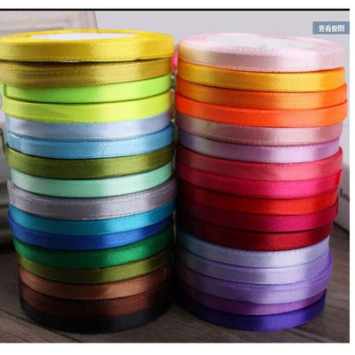 - 0.6cm 22 Meters Lone Single Face Satin Ribbon Wholesale gift packing Wedding Crafts Christmas White Pink Red Black Ribbons -   jetcube