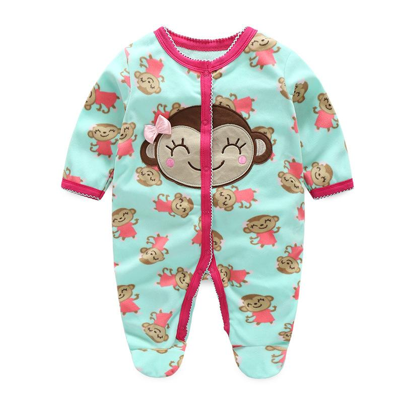 - 0-12M Autumn Fleece Baby Rompers Cute Pink Baby Girl Boy Clothing Infant Baby Girl Clothes Jumpsuits Footed Coverall V20C - MKBCROGL001P52 / 12M  jetcube