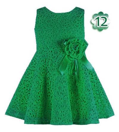 - 0-2 Years New Gift Summer Lace Vest Girls Dress Baby Girl Cotton Dress Chlidren Clothes Kids Party Clothing For Girls - Green / 12M  jetcube