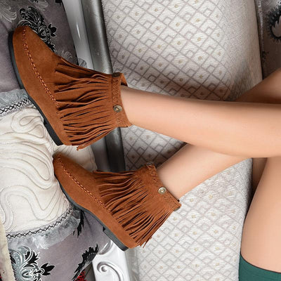 US5-9 Suede Leather Like Moccasin Fringe Tassel Ankle Boots womens wedge shoes