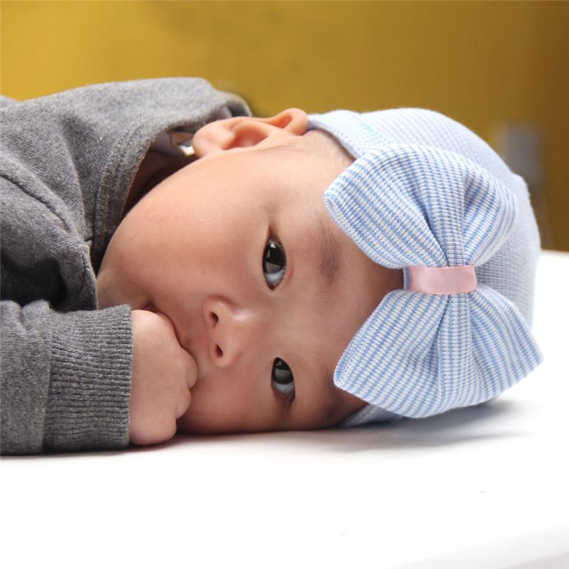 - 0-3 Months Hospital Newborn Baby Hats Cotton Beanies With Bow Soft Knit Tire Striped Infant Caps toddlers Bebe Photography Hats -   jetcube