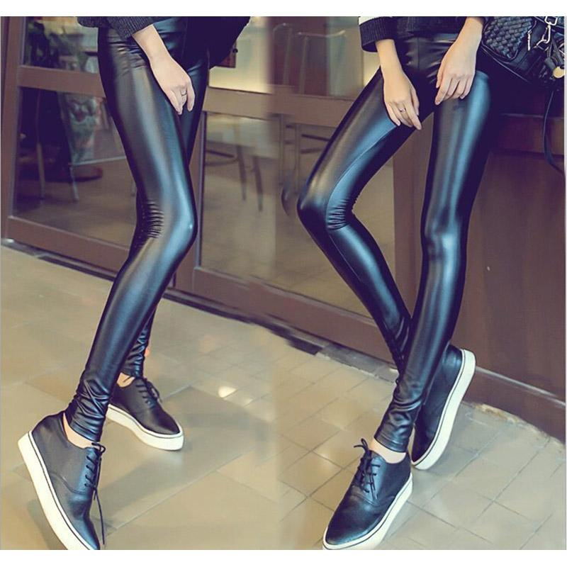 2017 Autumn Spring Fashion Black Sexy High Waist Womens Leggings Stretch Leather Pants S-XXL Free shipping