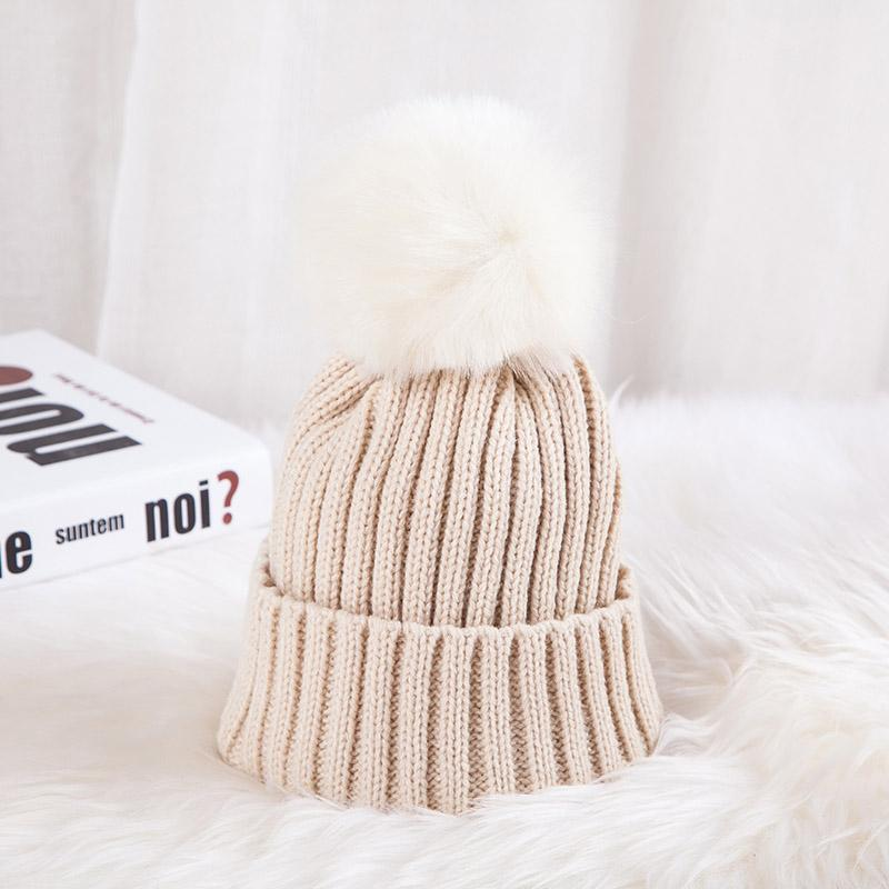 - 0926XB Skullies & Beanies Kid Solid Hats Real pompom hat winter hats for women knitted hat beanie women girls 10 colorst XB-A415 - Khaki / Children  jetcube