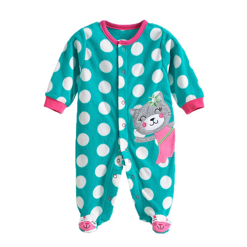 - 0-12M Autumn Fleece Baby Rompers Cute Pink Baby Girl Boy Clothing Infant Baby Girl Clothes Jumpsuits Footed Coverall V20C - MKBCROGL001P05 / 12M  jetcube