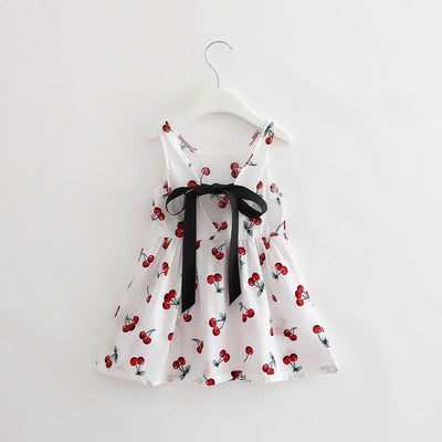- 2-7y Girls Clothing Summer Girl Dress Children Kids Berry Dress Back V Dress Girls Cotton Kids Vest dress Children Clothes 2017 - white / 2T  jetcube