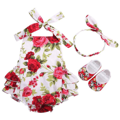 - 0-1 Year First Birthday Baby Show Floral Baby Clothes Girls Cute Headband Bebe Shoes 3 PCS set;Props Cotton Baby Rompers Overall - 7E3047 / 12M  jetcube