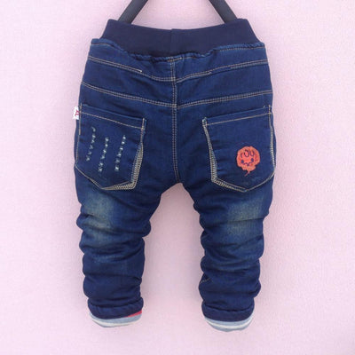- 2-5Y High quality 1pcs thick winter warm kids baby pants Boys children's trousers children jeans -   jetcube