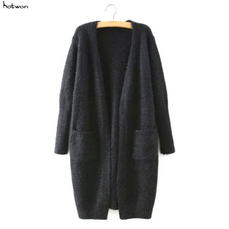 2017 Women Long Sleeve Knitted Cardigan Loose Sweater Outwear Jacket Coat Sweater Top