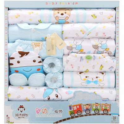 - 18 Pcs/Lot Baby gift Set Newborn Boys and Girls Soft cotton baby set cartoon Print unisex baby Cotton clothing TZ-011 - Sky Blue / 0-3 months  jetcube