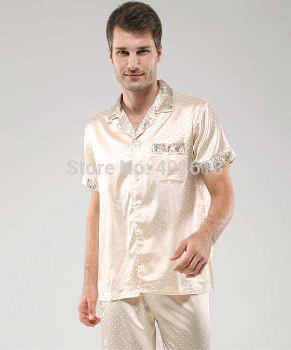 - (1 Set/Lot) Men pajamas, Men sleepwear, Including(Clothes+Pants), Silk sleepwear, Size L, XL, XXL, Short Sleeves nightdress -   jetcube
