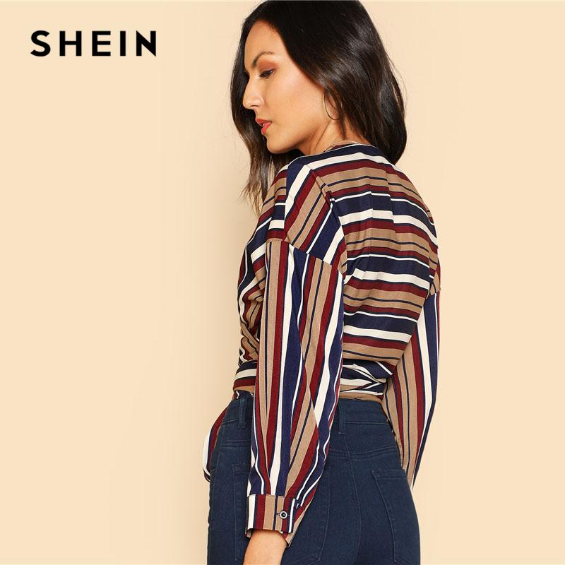 d1c082e1b30ec2 SHEIN Self Belted Striped Wrap Top V Neck Long Sleeve Button Weekend Casual  Crop Blouse 2018