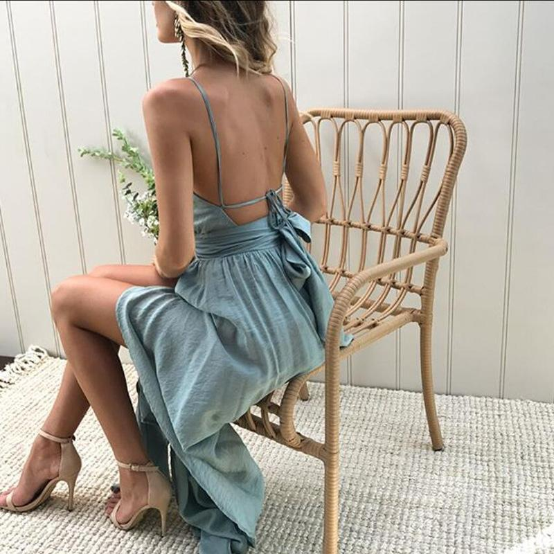 Viven Leigh Boho Dress Women Halter Neck Split Beach Dresses 2018 Summer Bow Sexy Backless Long Maxi Dress Evening Party Vestido