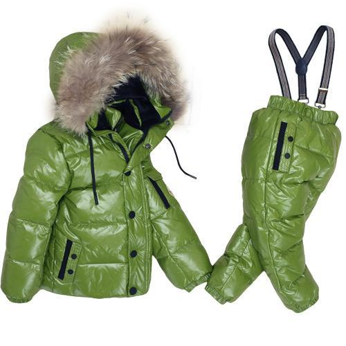 - -30Degrees Russia Winter Ski Jumpsuit Children Clothing Boys Girls Sport Suit Kids Snow Wear Jackets coats Bib pants Waterproof - Green / 24M  jetcube