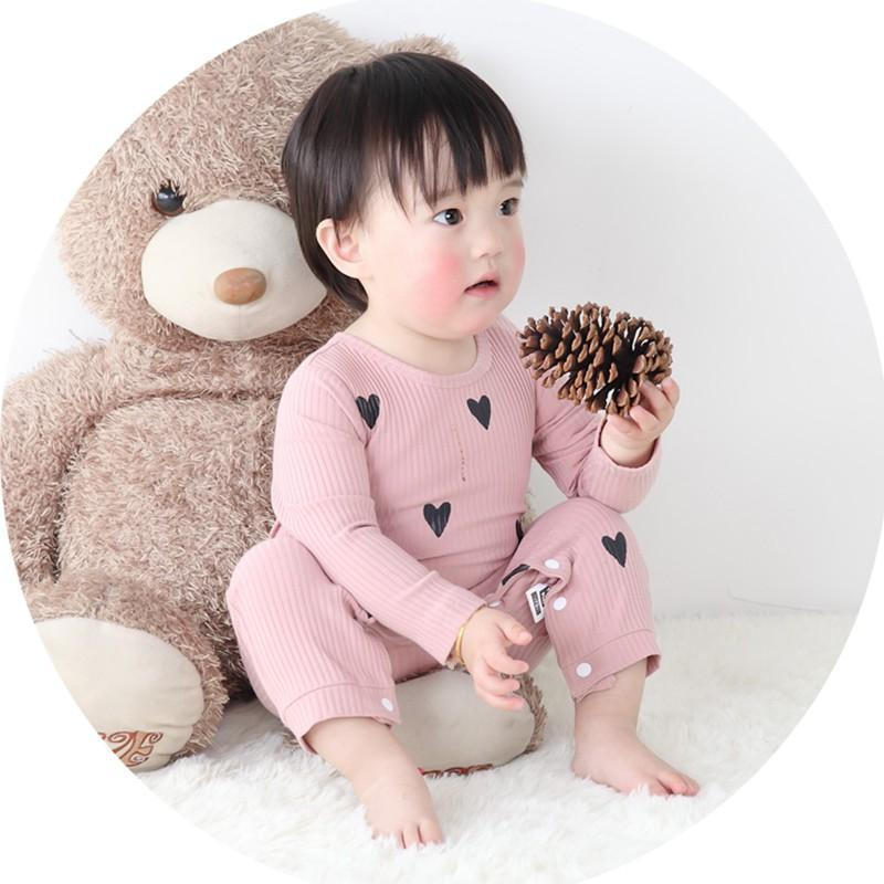- 0-24 Months High Quality New Born Baby Girls Boy Romper Clothes Cute Heart Cotton Girls Long Sleeve Jumpsuit Pink Blue - Pink / 0-3 months  jetcube