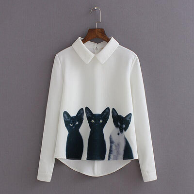 - 2016 Fashion Cartoon Cat New Brand Women's Loose Chiffon Three Cats Tops Long Sleeve Casual Blouse Autumn Shirts High Quality -   jetcube