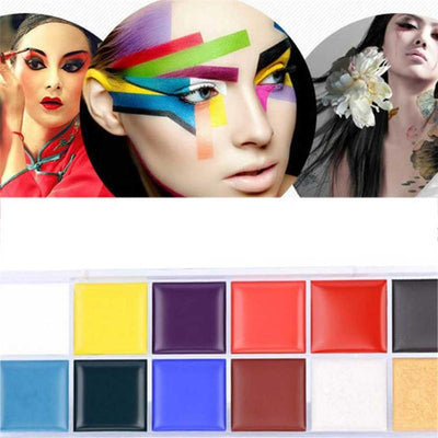 - 12 Color Body Painted Oil Color Drama Clown Halloween Makeup Face Color X9112 5Up -   jetcube