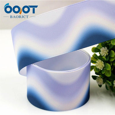 - 176011,38MM Gradient ripple Printed grosgrain ribbon,garment accessories hair accessories material, DIY Handmade decoration -   jetcube