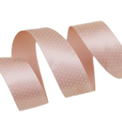 - (5 yards/lot) Small Dots Printed Satin ribbon lovely series ribbons wholesale (25mm&40mm) - Pink Meat / 25mm  jetcube