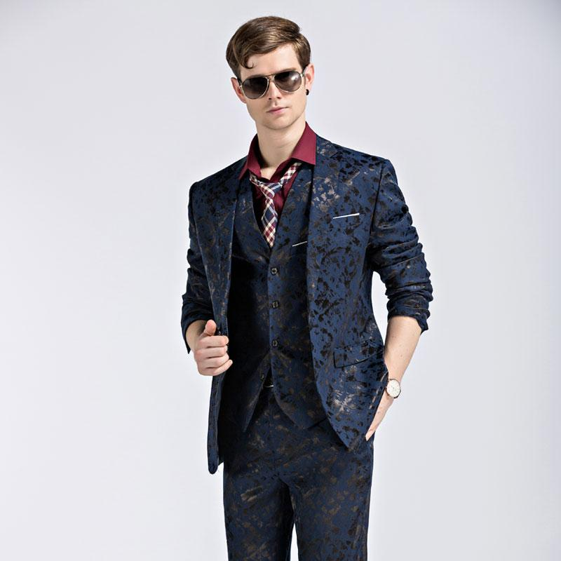 - (Blazer+Pants+Vest) Fashion Men's Suit Shine Patterns Luxury Casual Men Stage Clothing Vintage Mens Suits Wedding Groom M-3XL -   jetcube