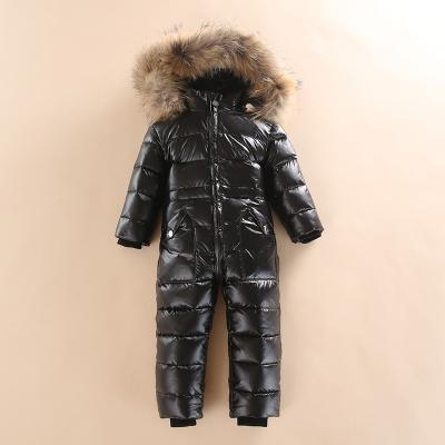 - -30 Winter Snowsuit Baby 80% duck Down Romper Outdoor Infant Overcoat Clothes Girls Overall for Boys Kids Jumpsuit 2~6Y - Black / 2T  jetcube