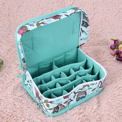 - 1 Pc 20-Slot Green New Style Birds Pattern Portable Shock-resistant Essential Oil Carrying Storage Case Bag Double Zips M 1STL -   jetcube