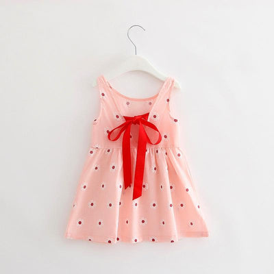 - 2-7y Girls Clothing Summer Girl Dress Children Kids Berry Dress Back V Dress Girls Cotton Kids Vest dress Children Clothes 2017 - pink / 2T  jetcube