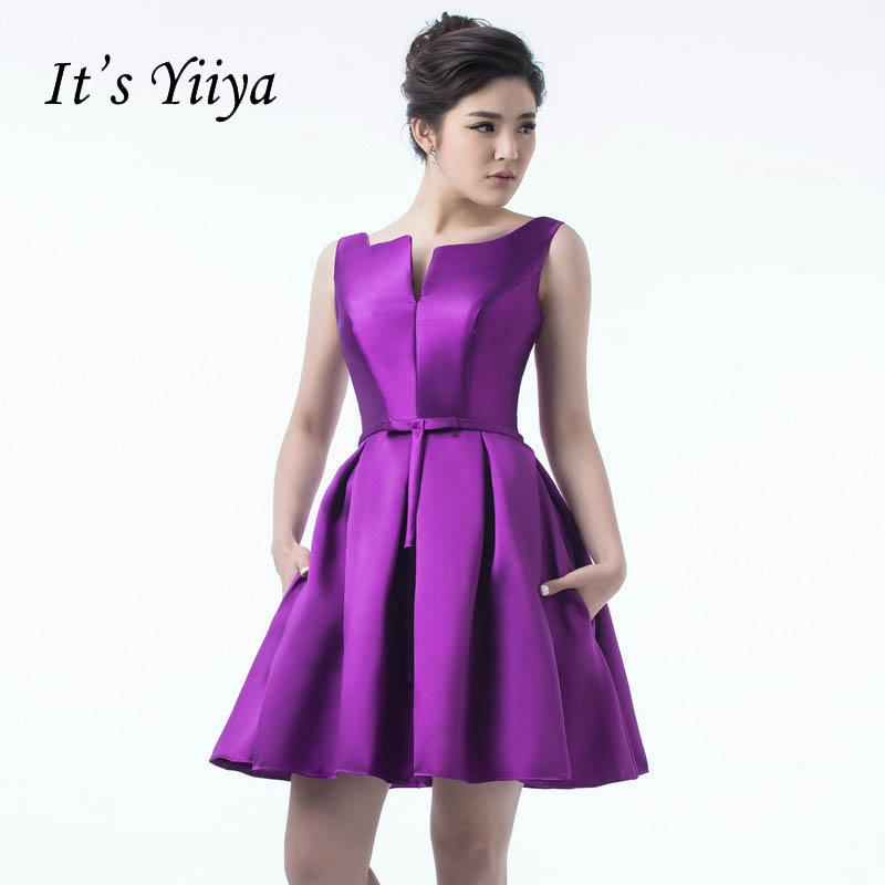 It s YiiYa 2018 Many Color Backless Bow Traffeta Lace Up Dinner Dress  Cocktail Dresses Knee Length 88b031e59880