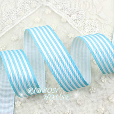 - (5 yards/lot) 1''(25mm) Blue and White Stripes grosgrain ribbon printed gift wrap ribbon decoration ribbons -   jetcube
