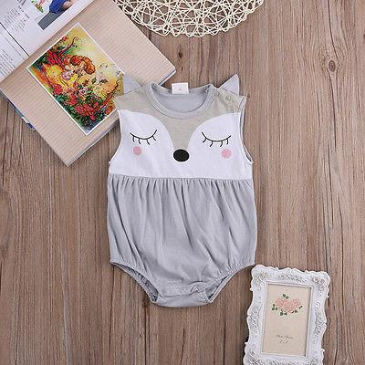 - 0-24M Newborn Baby Clothes Cute Cartoon Fox Bodysuit Summer Sleeveless Infant Kids Baby Body Clothes Onesies Bodysuits -   jetcube