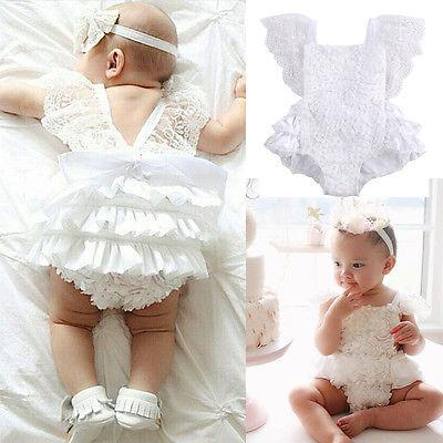 - 0-18M Newborn Baby Girls Clothes Super Cute Princess Girl Cake Dress Bodysuit Lace Party Playsuit One Pieces -   jetcube