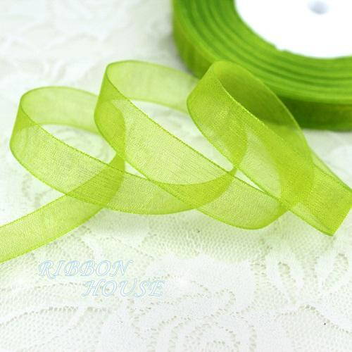 - (50 yards/roll) 1/2''(12mm) organza ribbons wholesale gift wrapping decoration Christmas ribbons - Fruit Green  jetcube
