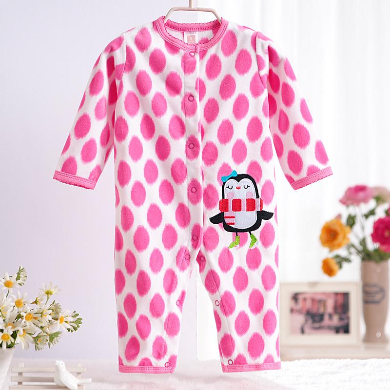 - 0-12M Autumn Fleece Baby Rompers Cute Pink Baby Girl Boy Clothing Infant Baby Girl Clothes Jumpsuits Footed Coverall V20C - MKBCROGL001P03 / 12M  jetcube