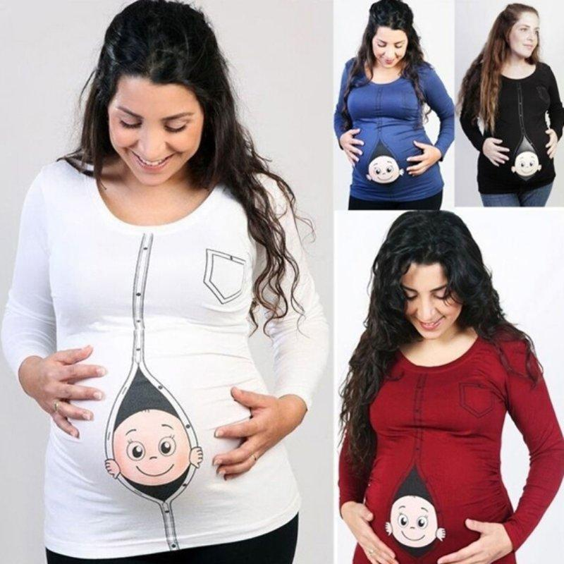 8ab0051344b3e Cute Pregnant Maternity T Shirts Cotton Tops Casual Pregnancy Maternity  Clothes with Baby Peeking Out Funny