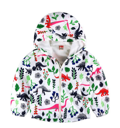 - 2-8yrs Kids Jackets For Girls and Boys Clothes Floral/Car/Dinosaur Print Children Outerwear & Coats Baby Hooded Windbreaker Coat - Dinosaur / 3T  jetcube